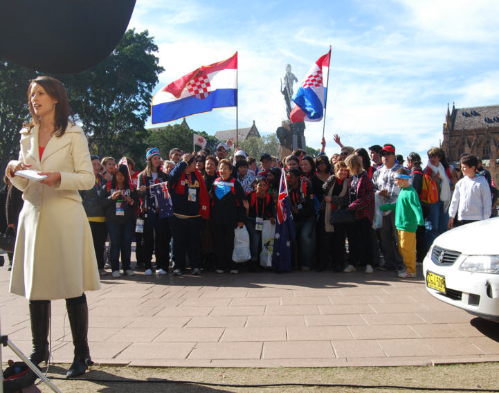 International Reporters and flags arrived from all over the world. Here, the Croatia flag shown by WYD Pilgrims.