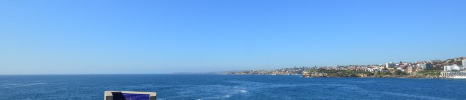 View of the coast from Fiszmans Park, at the northern end of Bondi Beach, looking south.