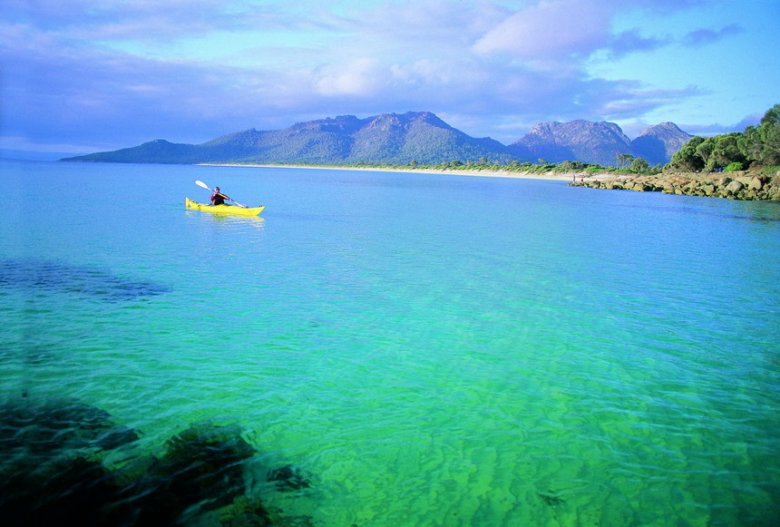 Freycinet National Park with the Hazard Mountains in the Background - Tourism Tasmania Copyright.