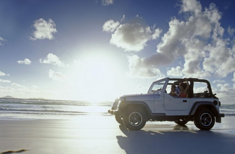 4WD along the beach.