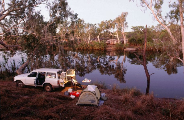 Camping along the King Edward River, in the
