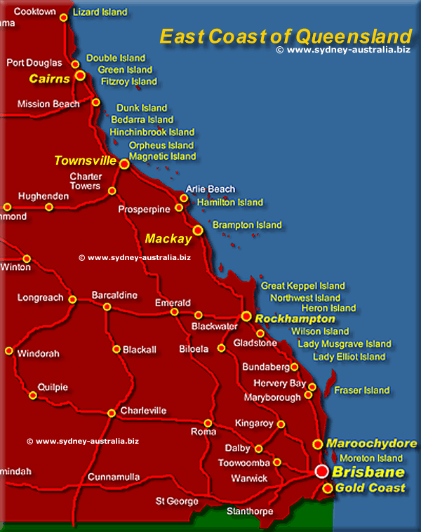 Map Queensland.Queensland Coast Map