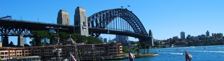 A familiar sight at The Rocks, the Sydney Harbour Bridge