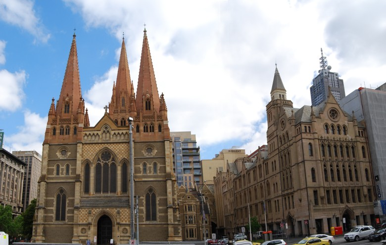 Opposite Flinders Street Station and Federation Square, Melbourne - St Paul's Cathedral