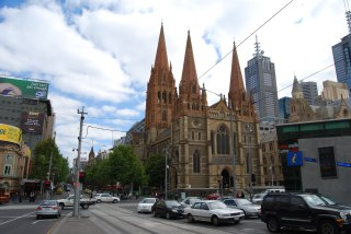 Swanston Street and Flinders Melbourne Australia