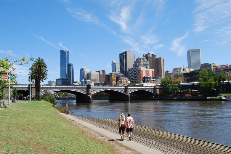 Federation Square and Flinders Street Train Station across the Yarra