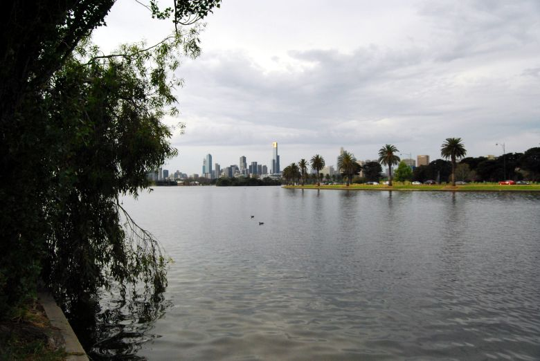 Albert Park, Melbourne Victoria. The CBD and Southbank are in the Distance.