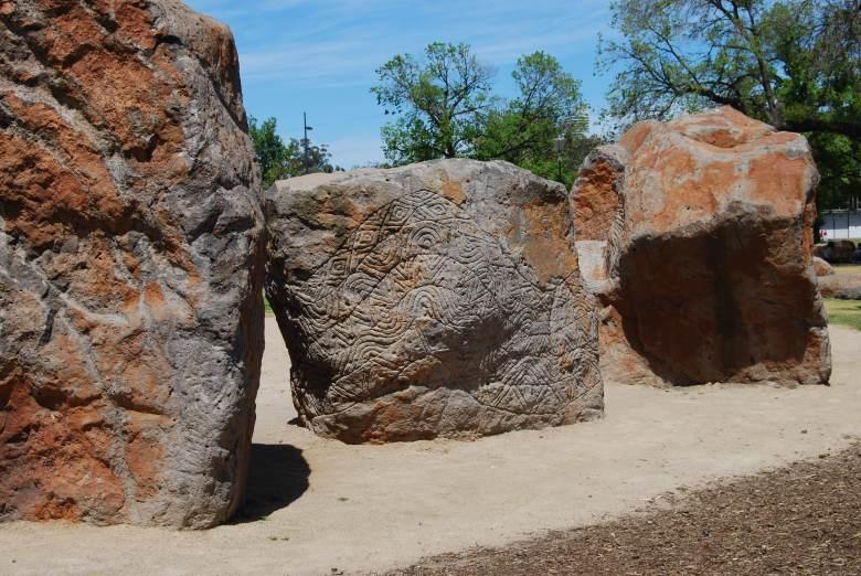 Birrarung Marr Aboriginal Artworks - Stone Engravings