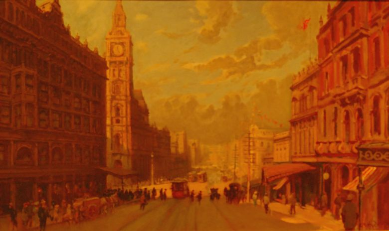 Bourke Street circa 1912 with the GPO Tower on the left - Painting by George Hyde Pownall