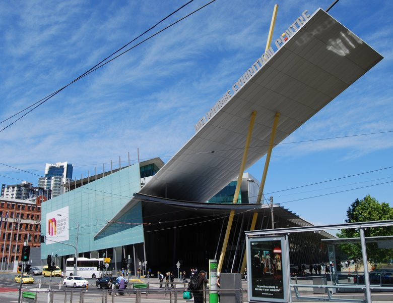 The dramatic soaring roof at the front entrance to the Melbourne Exhibition Centre