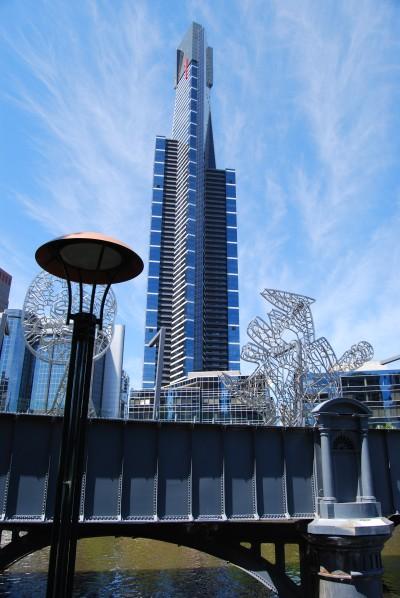 The Eureka Tower soars above Melbourne's Yarra River